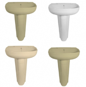 DOUBLE SKIN PEDESTAL K250 BASIN - Ivory, Peach, Soft Cream or White